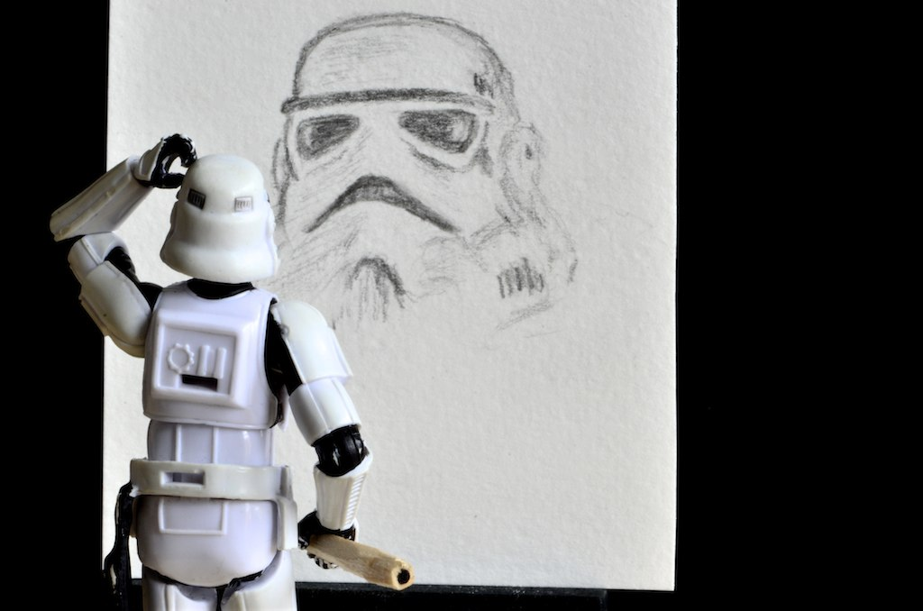 The Stormtrooper is making a portrait or is it a self portrait?