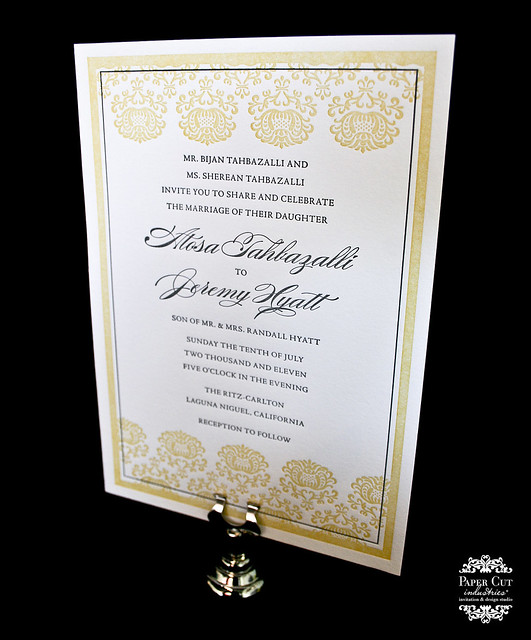 Custom Yellow and Charcoal Ornate Design Letterpress Wedding Invitation