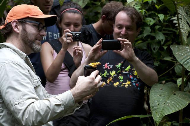 Científicos y observadores de ranas en Reserva Otokiki Alto Tambo, Provincia de Esmeraldas