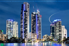 gold coast city (Pawel Papis Photography) Tags: city light sky cloud building water night plane gold coast australia