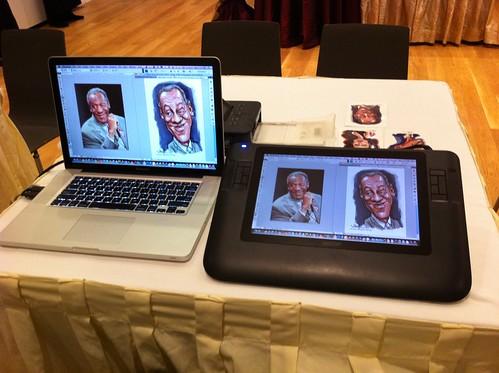 digital caricature live sketching setup