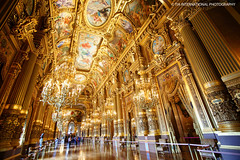 Exquisite Elegance (TIA International Photography) Tags: music paris france detail building art history june architecture tia gold lights design hall juin spring artwork mural opera europe paint place interior interieur capital paintings performance grand landmark ceiling hallway histoire palais classical column capitale ornate opra garnier foyer printemps ambience tosin musique batiment classique palatial arasi visipix tiascapes tiainternationalphotography