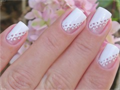 Nail art francesinha (Mhilka ♥) Tags: cute art branco nail nailart unha renda esmalte francesinha