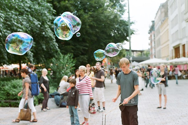Giant soap bubbles.