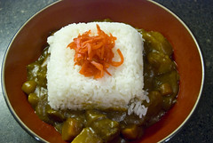 Japanese Curry Rice with Venison (fightingscot) Tags: food white japanese ginger potatoes rice curry venison onions carrots pickled comfort benishoga