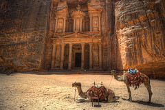 The Treasury at Petra, Jordan (www.Northwaveimages.com) Tags: travel red vacation color rock stone canon fun temple photography interesting rocks tomb petra middleeast worldheritagesite adventure jordan explore camel camels hdr jordania wonderoftheworld maan thetreasury photomatix kingdomofjordan canoneos5dmarkii