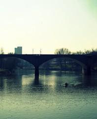 * (Borbuletachiara) Tags: bridge parco water river torino puente agua fiume ponte crossprocessing po due luce canoa valentino bridhe coordinazione