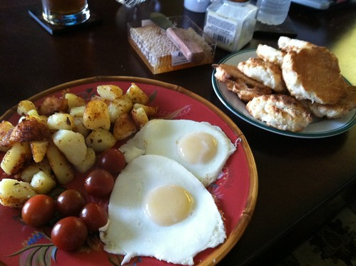 Eggs, biscuits, tomaters, and taters