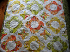 drunkard's path quilt top (NeedleAndSpatula) Tags: orange green yellow quilt centralpark drunkardspath