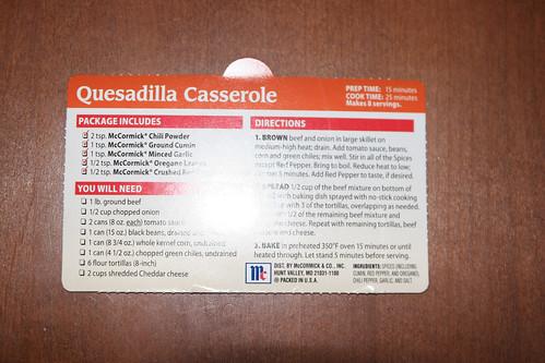 McCormick Quesadilla Casserole Yum!