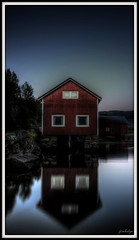 Brygge i Bardal (jimhelge) Tags: house reflection norway photoshop canon pier norge hdr photomatix bardal eos550d definatelynotoverthetophdr