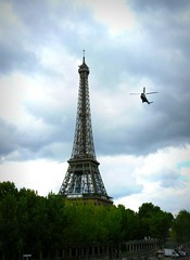Eiffel Tower with helicopter
