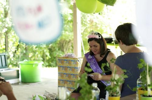 Sarah opening gifts