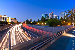 Sacramento - Rush Hour or Blue Hour? or Both? (Ben Sheriff Photography) Tags: california bridge northerncalifornia skyline night landscape cityscape i5 july fullmoon rushhour lighttrails sacramento bluehour 1022mm cityskyline northbound southbound interstate5 nightskyline qstreet sacramentocalifornia calpers sacramentoskyline canon40d sacramentonight bensheriffphotography calpersbuilding