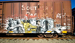 Howl (TheHarshTruthOfTheCameraEye) Tags: california train graffiti um northern lib freight howl benching