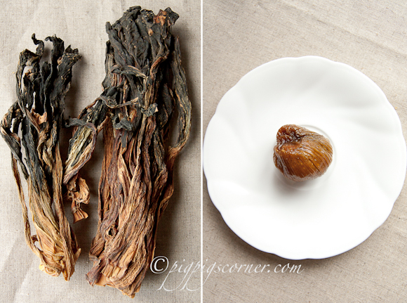Dried bok choy, dried honey date
