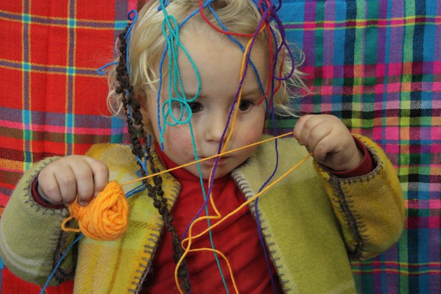 Playing with yarn at Popcraft