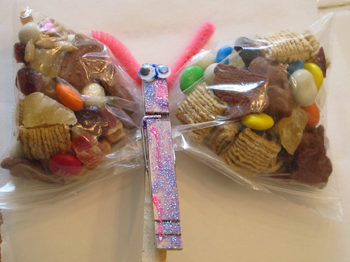 A close-up of the butterfly treat bag