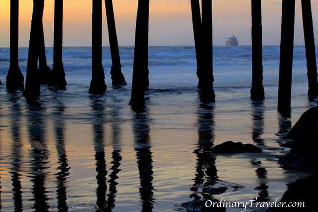 Travel Photo Roulette: Silhouette of the pillars at Oceanside, CA pier. Copyright by OrdinaryTraveler.com