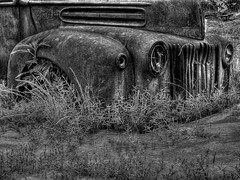 Grounded (One_Track) Tags: old blackandwhite ford abandoned rural truck weeds junk rust scenery decay alabama hamilton dirt hdr marioncounty photomatix