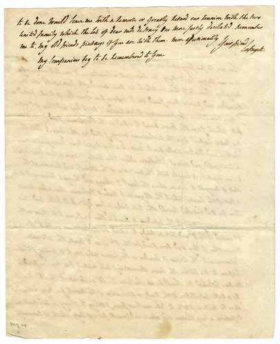 Lafayette letter to Francis Huger  [verso]
