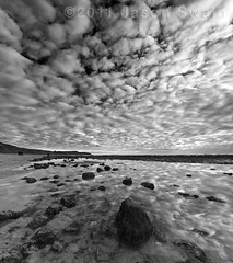 Altocumulus² (s0ulsurfing) Tags: ocean winter sea england sky blackandwhite bw cloud white black english texture beach nature water weather clouds composition contrast reflections skyscape grey reflecting mono bay coast seaside sand scenery skies natural britain compton patterns hiver shoreline january wideangle monotone reflected coastal shore isleofwight 7d coastline british tidepool cloudporn atmospheric nube englishchannel wight meteorology nephology altocumulus lamanche mackerelsky 2011 comptonbay sigma1020 mackrelsky s0ulsurfing thecloudappreciationsociety thecloudspottersguide coastuk vertorama canon7d