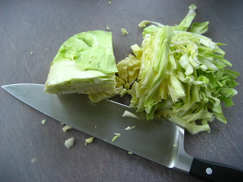 shredding the cabbage