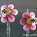 Earring : Pink Blossom Flower Bee