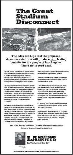 Los Angeles Neighbors United ad against public funding for a football stadium, Los Angeles Times, Tuesday 7/26/2011