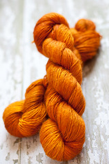 'Dragonfly in Amber' Baby Alpaca/Wool/Silk Single ply DK