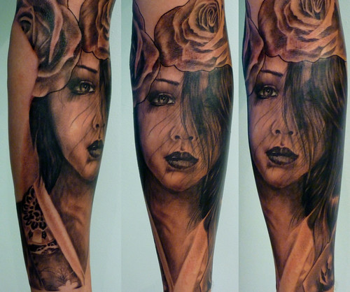 Black and grey Portrait Geisha Rose Japanese Oriental Sleeve