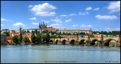 Prague Castle and the Charles Bridge (HDR) (Denis Li) Tags: bridge castle statue architecture river lumix czech prague charles czechrepublic baroque charlesbridge vltava hdr praguecastle moldau charlesiv 5xp fz38 fz35