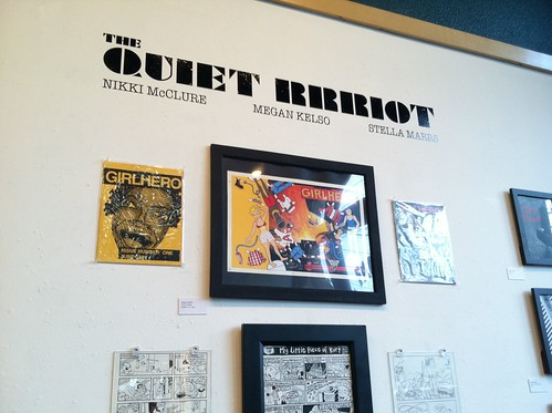 The Quiet Rrriot installation at the Fantagraphics Bookstore & Gallery