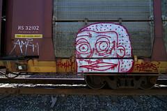 RAEMS (TRUE 2 DEATH) Tags: street railroad streetart art train graffiti tag graf trains railcar spraypaint boxcar railways railfan freight amfm freighttrain autorack rollingstock benching freighttraingraffiti raems