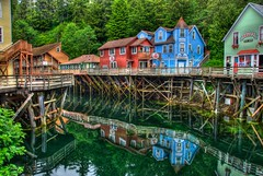 Creek Street (Thad Roan - Bridgepix) Tags: travel cruise color reflection building tourism water alaska architecture port shopping photo store ship image princess picture piling hdr ketchikan sapphire creekstreet 201106
