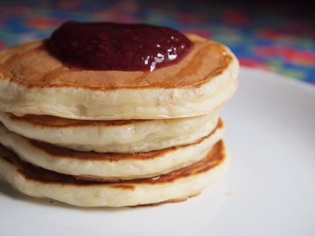 Cheesecake Pancakes with rasberry Jam