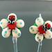 Earring Pair : Ladybug Ivory Blossom Flower