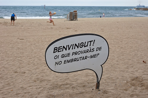 Speech Bubble at Barceloneta Beach