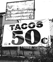50-cent tacos (Vorona Photography) Tags: city urban bw food sign truck lunch photo washington interesting state image cent picture gritty neighborhood special taco photograph local tacoma roadside 50 cheap inexpensive fifty monoton