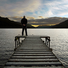 AT EASE (kenny barker) Tags: sunset sky water clouds scotland dusk jetty panasonic figure g1 loch gloaming lochearnhead saariysqualitypictures