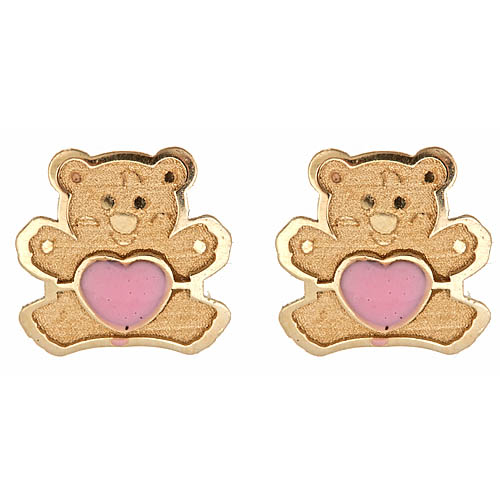 Gold Teddy Bear Earrings
