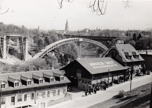 Enghaldenstrasse, Bern, Switzerland. Lorraineviadukt under construction. Circa 1940.