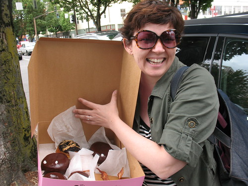 Tracey with her Voodoo Donuts!