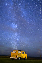 Space, to unwind (AndWhyNot) Tags: camping light sky orange window vw night dark way volkswagen stars bay long exposure darkness no pollution camper milky isle campsite wight 1180
