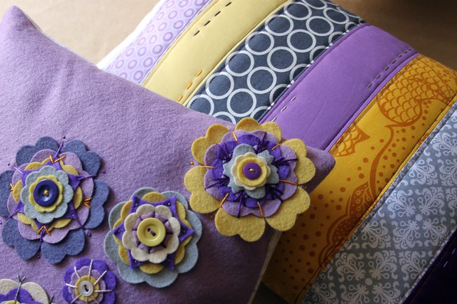 Purple and Yellow Strip and Flower Pillows