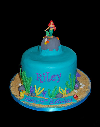 ocean scene birthday cake for a Little Mermaid themed party with customer topper