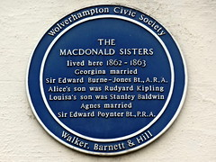 Photo of Georgina Macdonald, Alice Macdonald, Louisa Macdonald, and Agnes Macdonald blue plaque