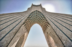 Azadi Square HDR (aryapix) Tags: mountains grass clouds square iran tehran hdr azadi enghelab