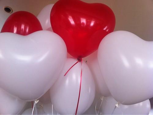 Heliumballonnen Rode en Witte Hartballonnen