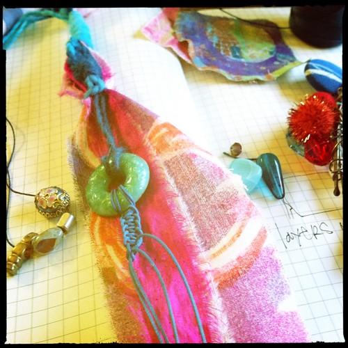 hand dyed & painted fabric lariats